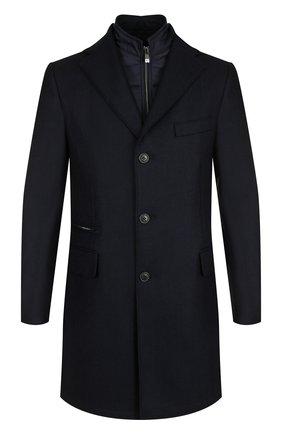 Однобортное шерстяное пальто с подстежкой Corneliani синего цвета | Фото №1