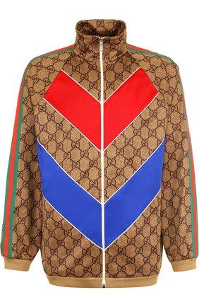 Мужской кардиган свободного кроя на молнии с отделкой GUCCI светло-коричневого цвета, арт. 523488/X9V34   Фото 1