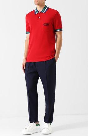 Мужской шерстяные укороченные брюки с поясом на резинке GUCCI темно-синего цвета, арт. 472975/Z505F | Фото 2