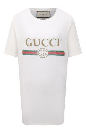Женская хлопковая футболка с круглым вырезом и принтом GUCCI белого цвета, арт. 457095/X5L89 | Фото 1