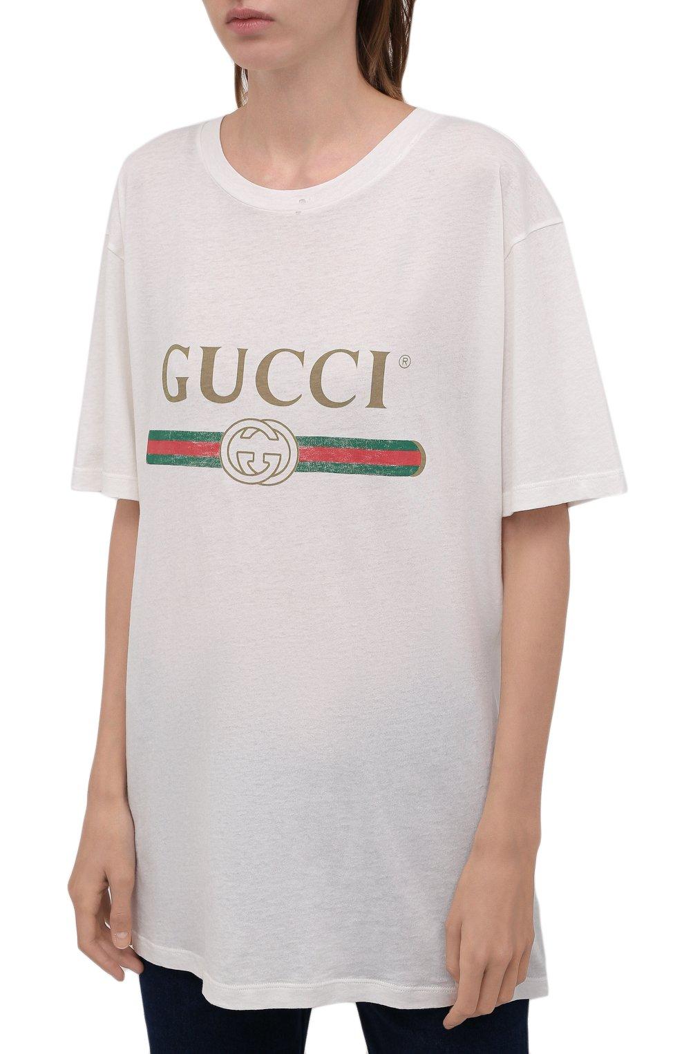 Хлопковая футболка с круглым вырезом и принтом | Фото №3