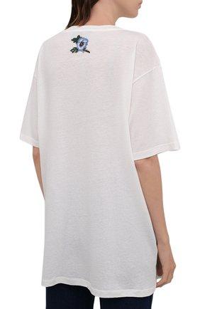 Хлопковая футболка с круглым вырезом и принтом | Фото №4
