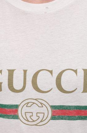 Хлопковая футболка с круглым вырезом и принтом | Фото №5