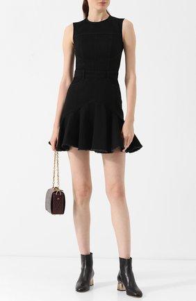 Джинсовое мини-платье с круглым вырезом Alexander McQueen черное   Фото №1