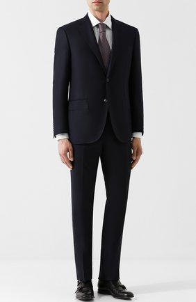Шерстяные брюки прямого кроя Corneliani серые | Фото №1