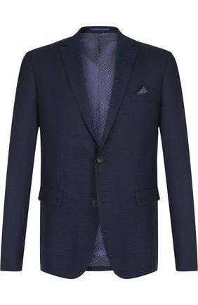 Однобортный пиджак из смеси шерсти и кашемира Sand синий | Фото №1