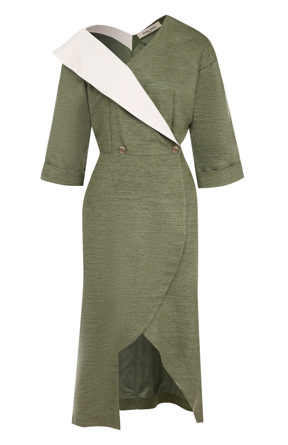 Приталенное платье-миди с открытым плечом   Фото №1