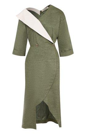 Приталенное платье-миди с открытым плечом | Фото №1