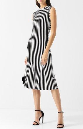 Приталенное платье с круглым вырезом BOSS черно-белое | Фото №1