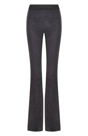 Замшевые расклешенные брюки с контрастным поясом DROMe темно-синие | Фото №1
