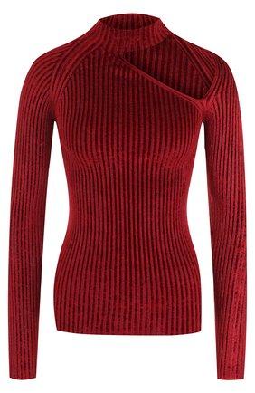 Однотонный пуловер с длинным рукавом и воротником-стойкой MRZ бордовый | Фото №1