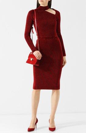 Однотонная юбка-карандаш с эластичным поясом MRZ бордовая | Фото №1