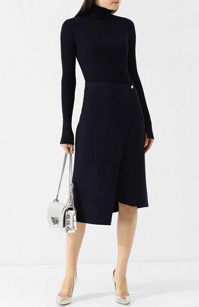 Однотонная шерстяная юбка-миди асимметричного кроя MRZ черная | Фото №1
