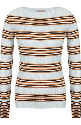 Пуловер из смеси шерсти и вискозы в полоску MRZ голубой | Фото №1