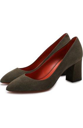 Замшевые туфли на устойчивом каблуке Santoni хаки | Фото №1