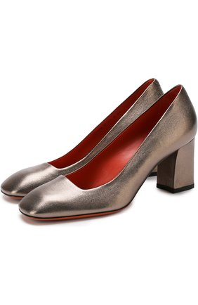 Туфли из металлизированной кожи на устойчивом каблуке Santoni серебряные | Фото №1