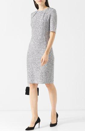Вязаное платье из смеси шерсти и вискозы с круглым вырезом St. John черно-белое | Фото №1