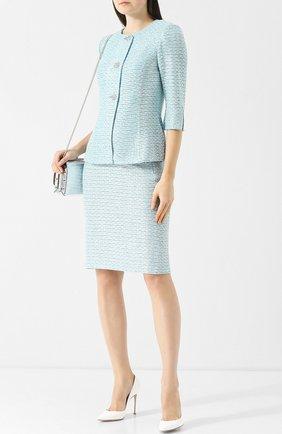 Вязаная юбка из смеси шерсти и вискозы St. John голубая | Фото №1