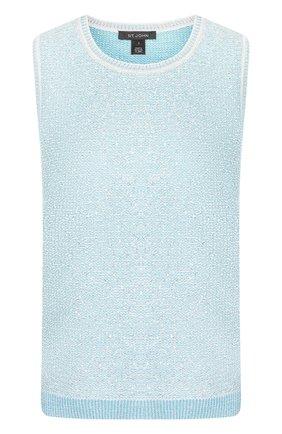 Вязаный топ из смеси шерсти и вискозы с круглым вырезом St. John голубой | Фото №1