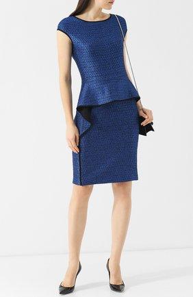 Вязаное платье из смеси шерсти и вискозы с оборкой St. John синее | Фото №1