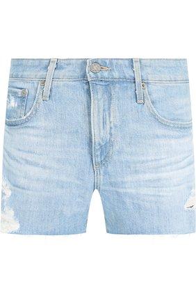 Джинсовые мини-шорты с потертостями Ag синие   Фото №1