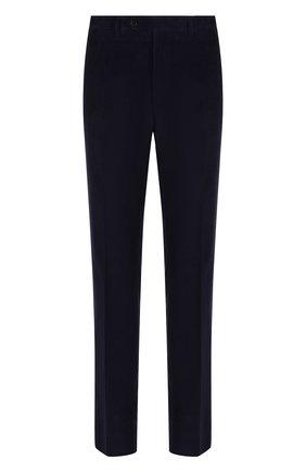 Хлопковые брюки прямого кроя Canali темно-синие | Фото №1