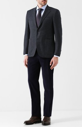 Шерстяной однобортный пиджак Canali темно-серый | Фото №1