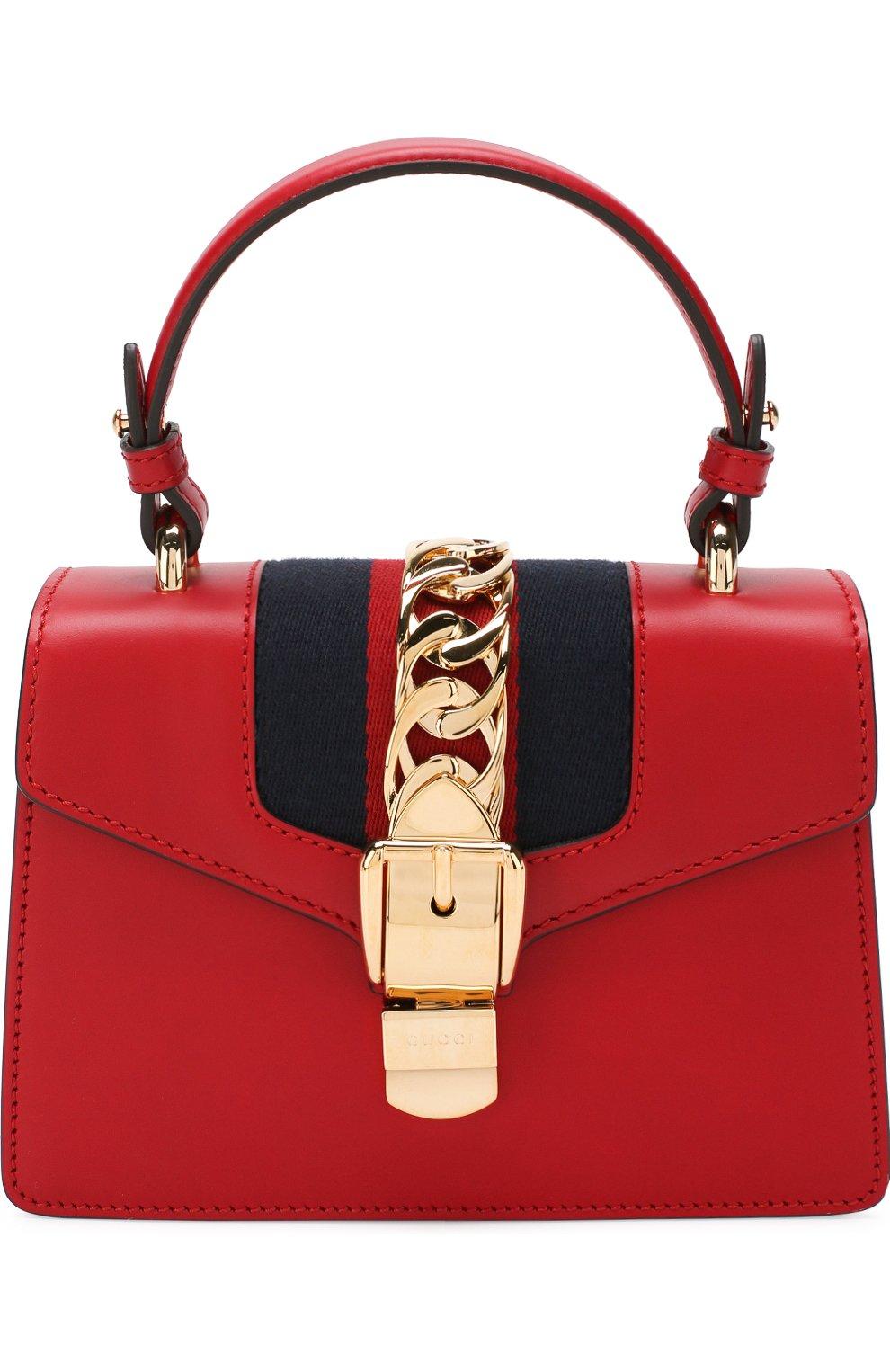 b12c87b6e079 Женская сумка sylvie mini GUCCI красная цвета — купить за 152000 руб ...