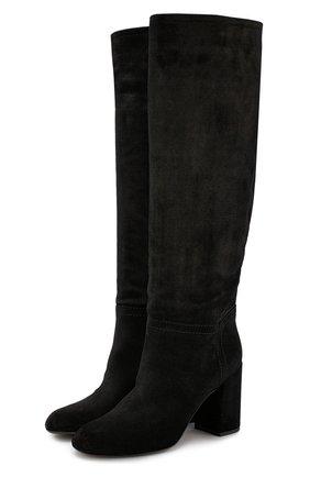Кожаные сапоги на устойчивом каблуке AGL черные | Фото №1