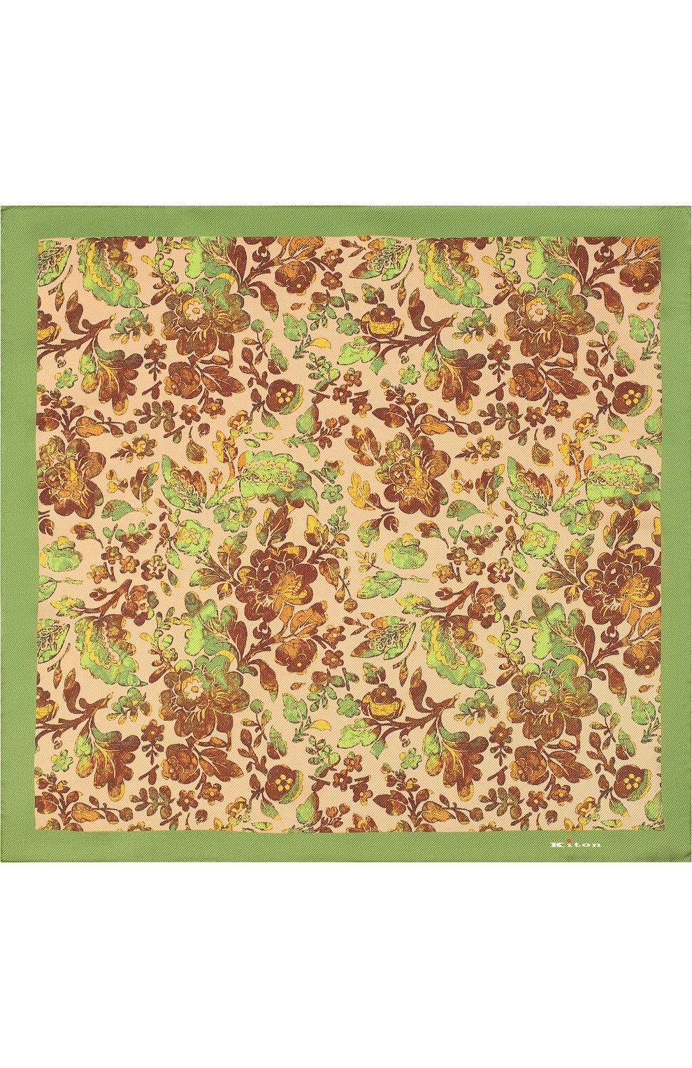 Шелковый платок с цветочным принтом | Фото №3
