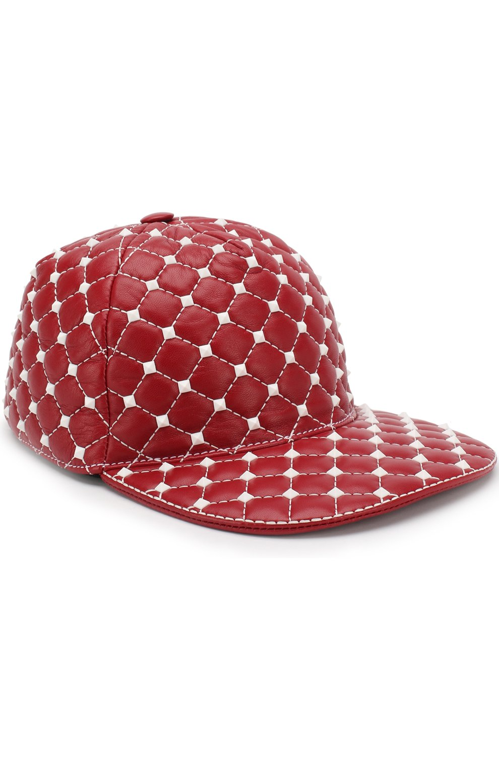 Кожаная кепка Valentino Garavani Rockstud Spike Free   Фото №1