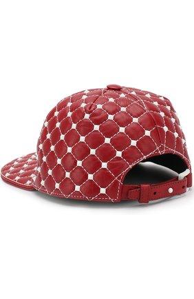 Кожаная кепка Valentino Garavani Rockstud Spike Free Valentino красного цвета   Фото №2