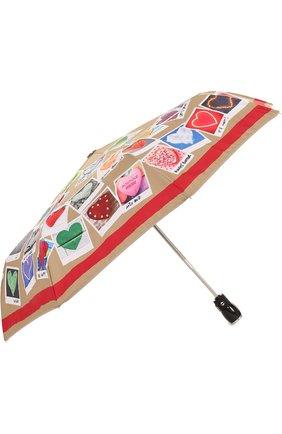 Складной зонт с принтом Moschino бежевый | Фото №1