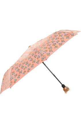 Складной зонт с принтом Moschino розовый | Фото №2