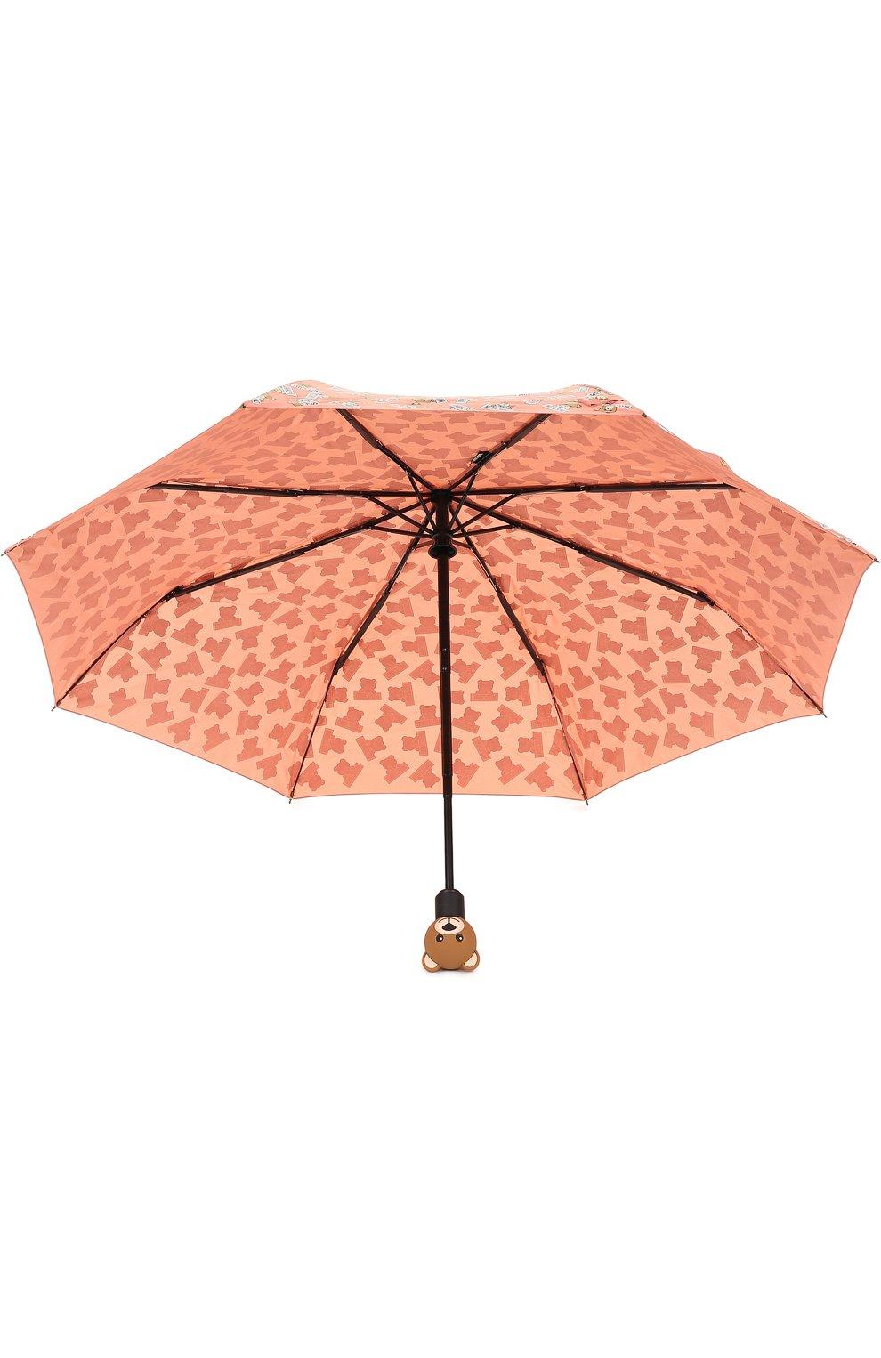 Складной зонт с принтом Moschino розовый | Фото №3