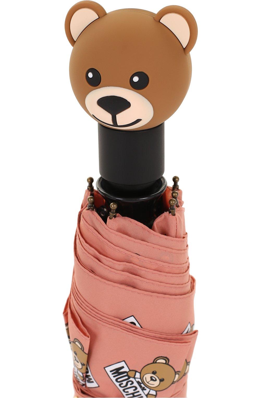 Складной зонт с принтом Moschino розовый | Фото №4