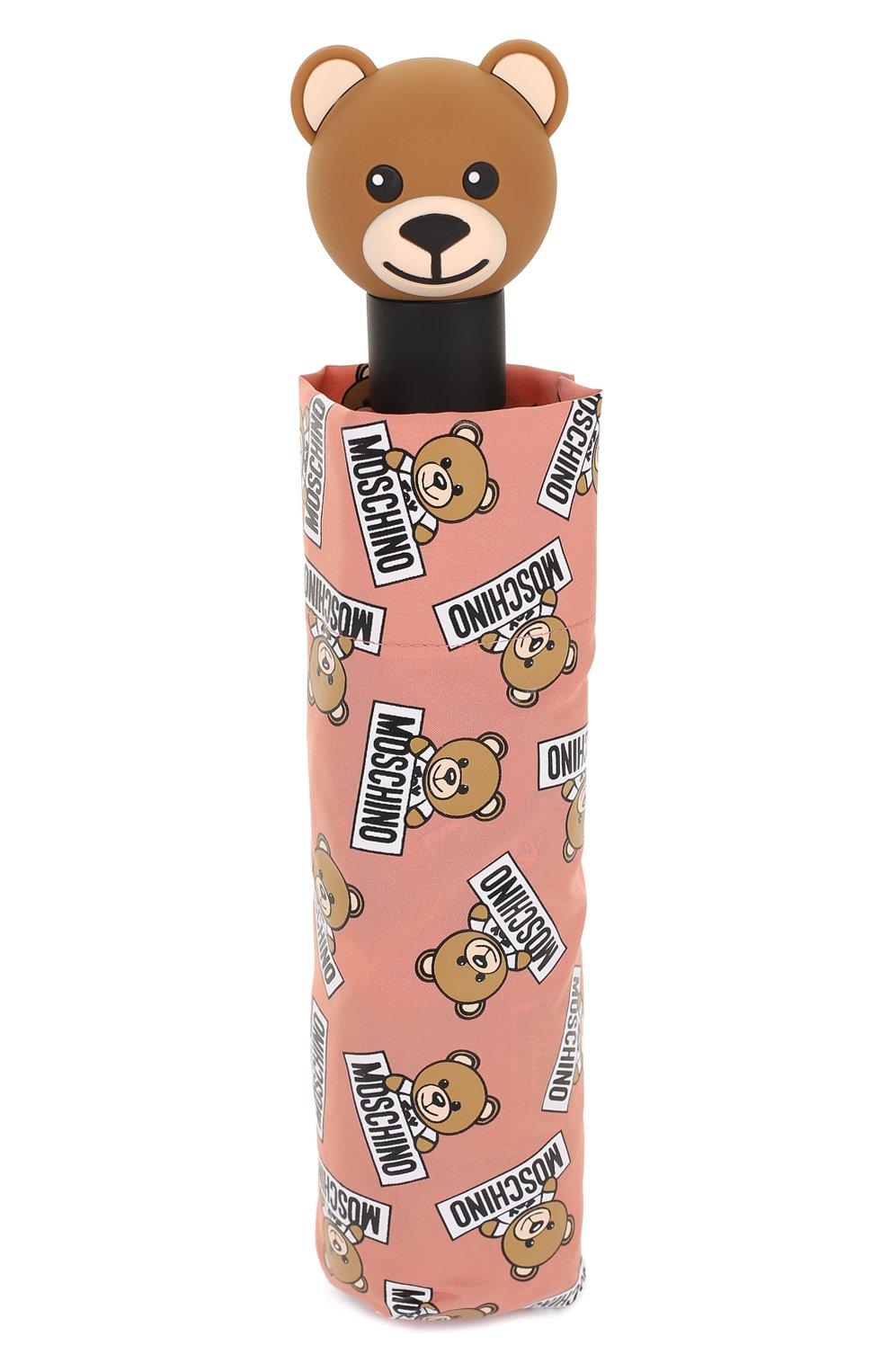 Складной зонт с принтом Moschino розовый | Фото №5