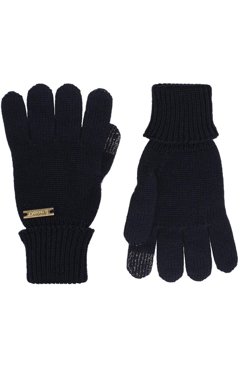 Детские перчатки из шерсти IL TRENINO темно-синего цвета, арт. 18 9004/E0   Фото 2