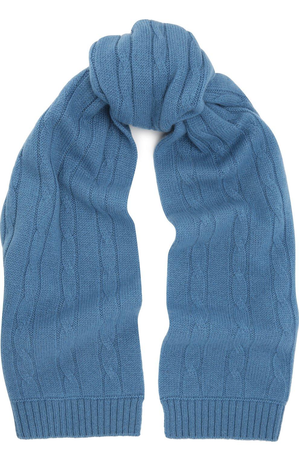 Детский кашемировый шарф фактурной вязки LORO PIANA голубого цвета ... f60f52cd9ce