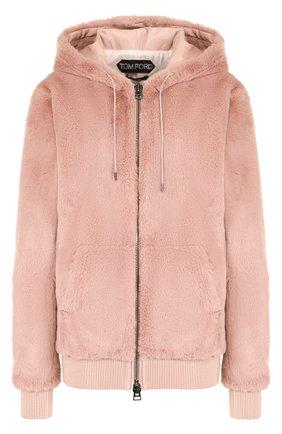 Однотонная куртка с капюшоном и кожаной отделкой | Фото №1