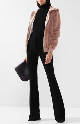 Однотонная куртка с капюшоном и кожаной отделкой | Фото №2