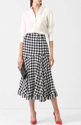 Вязаная юбка-миди с бахромой Oscar de la Renta черно-белая | Фото №1