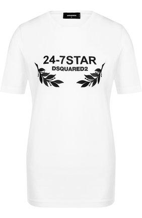 Хлопковая футболка прямого кроя с круглым вырезом Dsquared2 белая | Фото №1