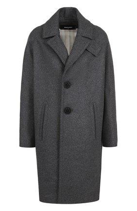 Однотонное шерстяное пальто с карманами Dsquared2 серого цвета | Фото №1
