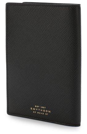 Кожаная обложка для паспорта Smythson черного цвета | Фото №1