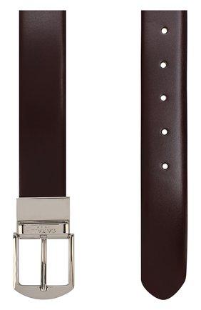 Кожаный ремень с металлической пряжкой Canali бордовый | Фото №1