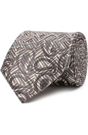 Мужской шелковый галстук с узором GIORGIO ARMANI бежевого цвета, арт. 360054/8A800 | Фото 1