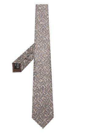 Мужской шелковый галстук с узором GIORGIO ARMANI бежевого цвета, арт. 360054/8A800   Фото 2