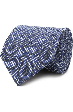 Мужской шелковый галстук с узором GIORGIO ARMANI темно-синего цвета, арт. 360054/8A800 | Фото 1