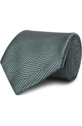 Мужской шелковый галстук с узором GIORGIO ARMANI темно-зеленого цвета, арт. 360054/8A936 | Фото 1